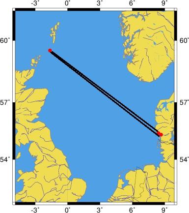 Kortet viser den korteste distancemellem Fair Isle og hhv. Ribe og Fanø.